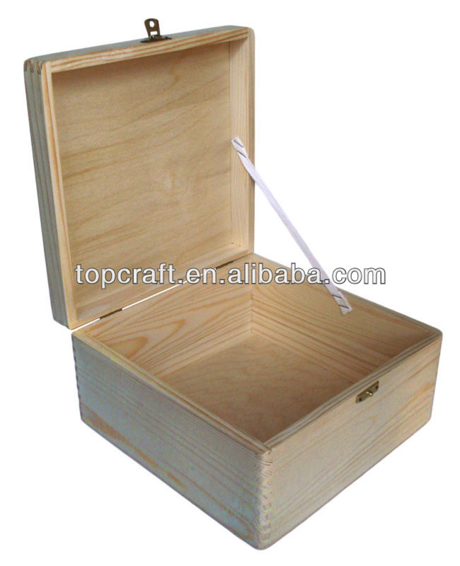 17cm Rounded Cube Plain Wood Wooden Box With Hinged Lid Buy