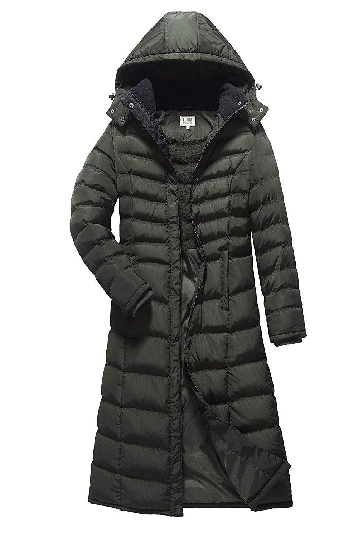 82f4c1c251d7d Get Quotations · ELORA Women s Full Length Winter Fleece Lined Plus Size  Maxi Puffer Coat