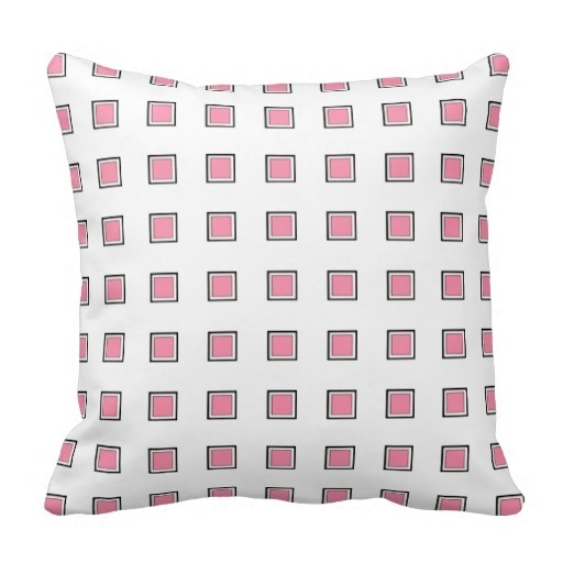 Free Flamingo Pink Checked Design Classy Throw Pillow Case (Size: 20