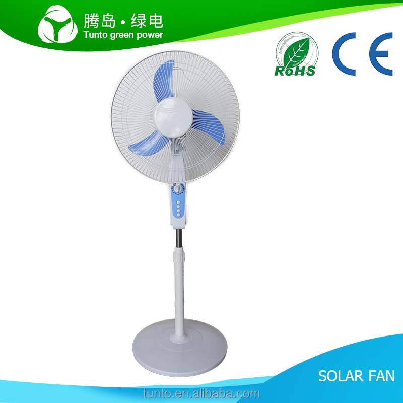 China Solar Battery rechargeable dc 16 inch fan, 5 speed ac dc floor fan