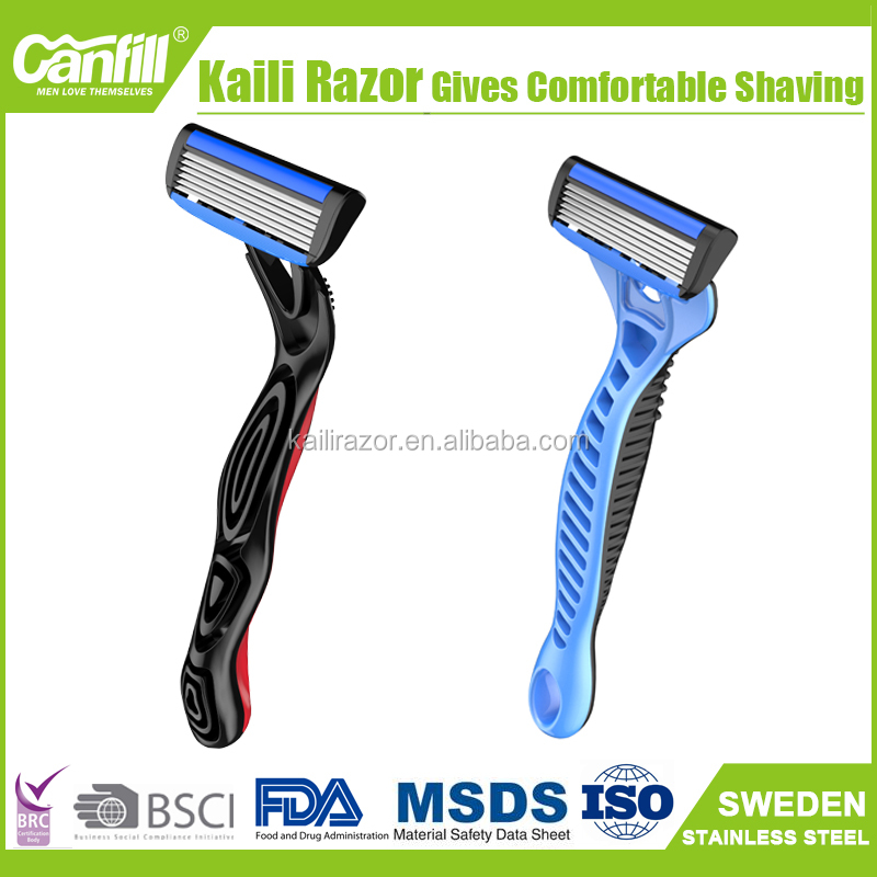 6 blades shaving razor men's shaver travel shaving razor stainless steel shaver razor heavy handle