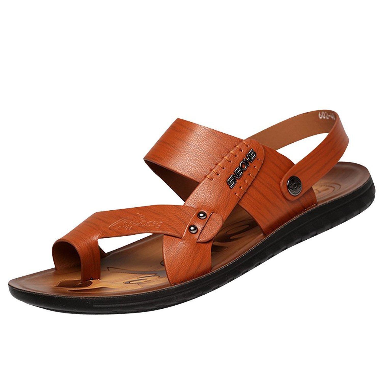 Navoku Mens Leather Outdoor Sandles Summer Beach Sandals