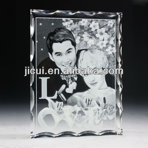 Wedding picture crystal frame 2D photo laser engraving crystal