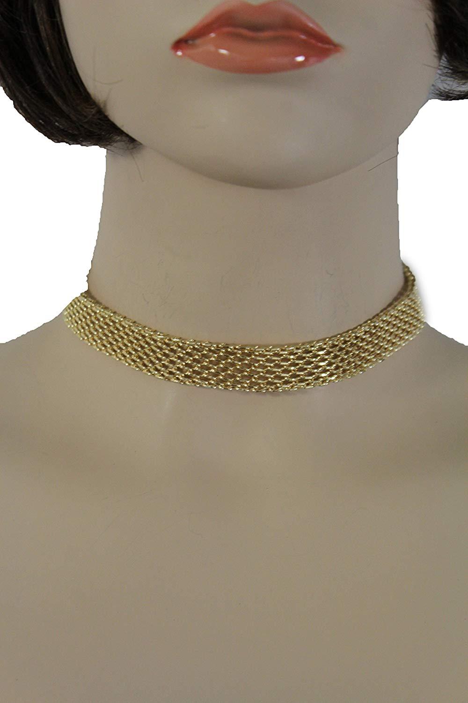 TFJ Women Fashion Antique Gold Color Short Choker Necklace Black Beads Jewelry Set