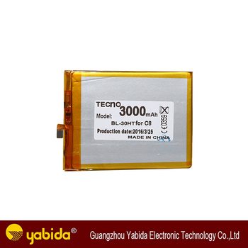 Wholesale best quality 3000mAh mobile phone battery for TECNO C8 BL-30HT,  View tecno mobile phone battery, yabida Product Details from Guangzhou