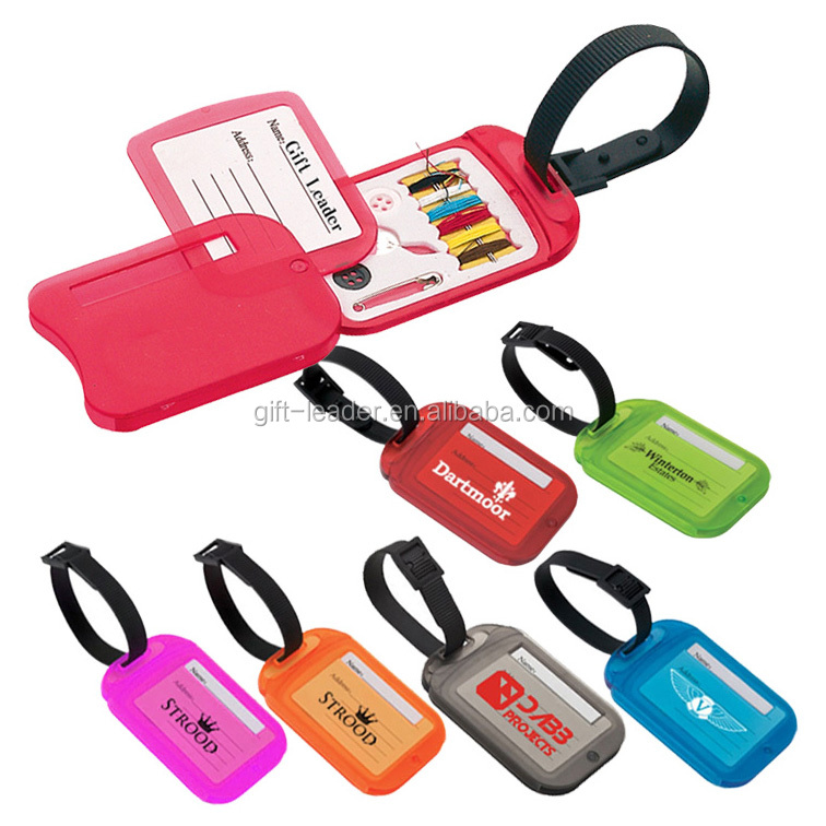 Promotional dual-use double faces phone number paper card draw-out rectangle translucent plastic sewing kit travel suitcase tag