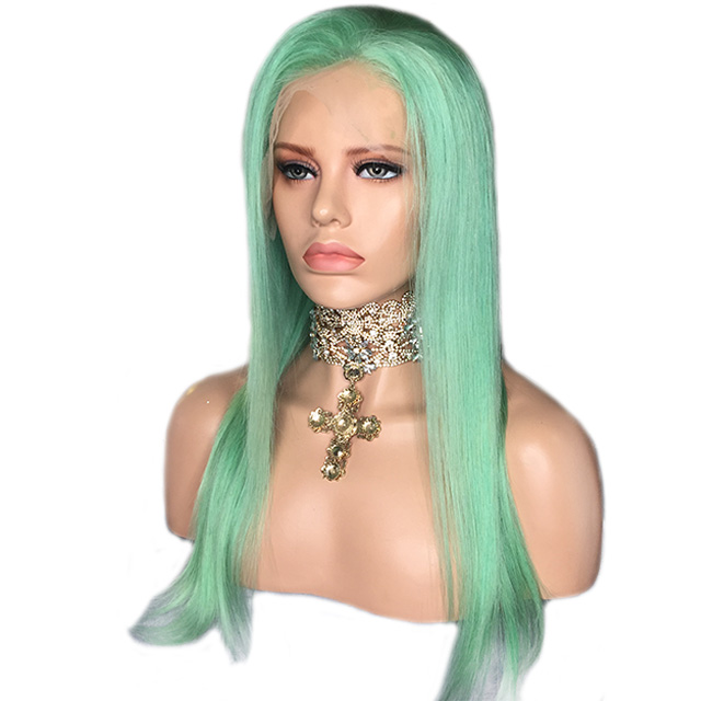 Green Lace Wig Vendors Straight Glueless Lace Front Human Hair Wigs Bleached Knots фото