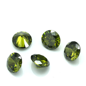 Hot selling black olive round cubic zirconia gemstone sell in bulk