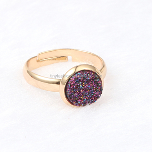 OEM Factory Custom Ring New Popular Creative Jewelry Resin Stone Round Charm Adjustable Druzy Ring