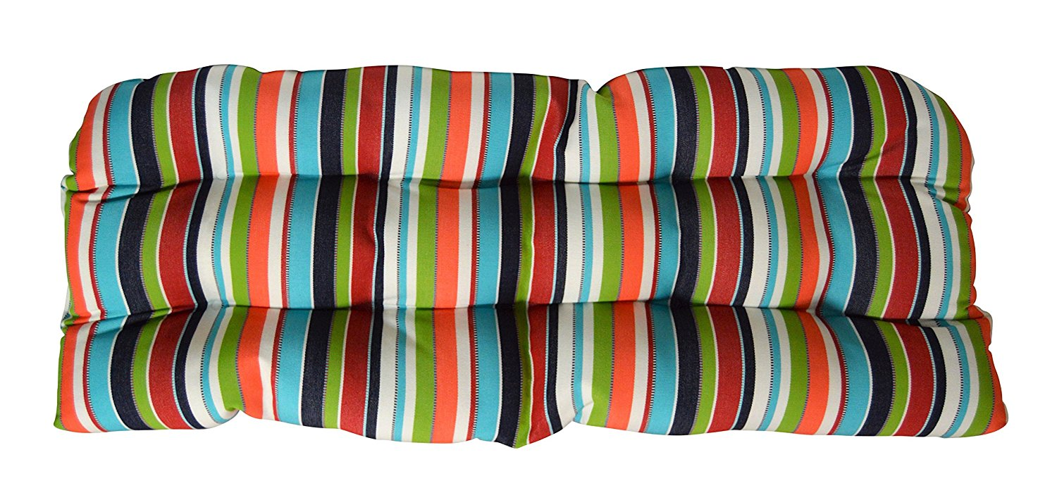 Sunbrella Carousel Confetti Wicker Love Seat Cushion - Indoor / Outdoor Wicker Loveseat Settee Tufted Cushions - Navy, Turquoise, Lime Green, Orange, Red & White Stripe