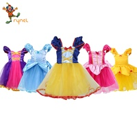 Halloween Children Bell Snow white Elsa Lace Cotton Bowtie Princess Girl Kids Yellow Red Pink Costume Dress