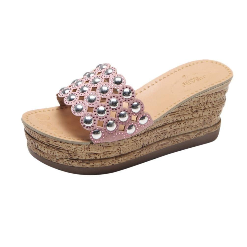 47bbac160e9fcd Get Quotations · SUKEQ Women High Platform Wedge Slide Sandals Bling  Jewelry Hollow Out Open Toe Slippers Slip On