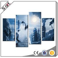 4 Panels Wolf Moon forest landscape Oil Painting Print on Canvas Giclee Artwork for Modern Living Room Home Wall Decor
