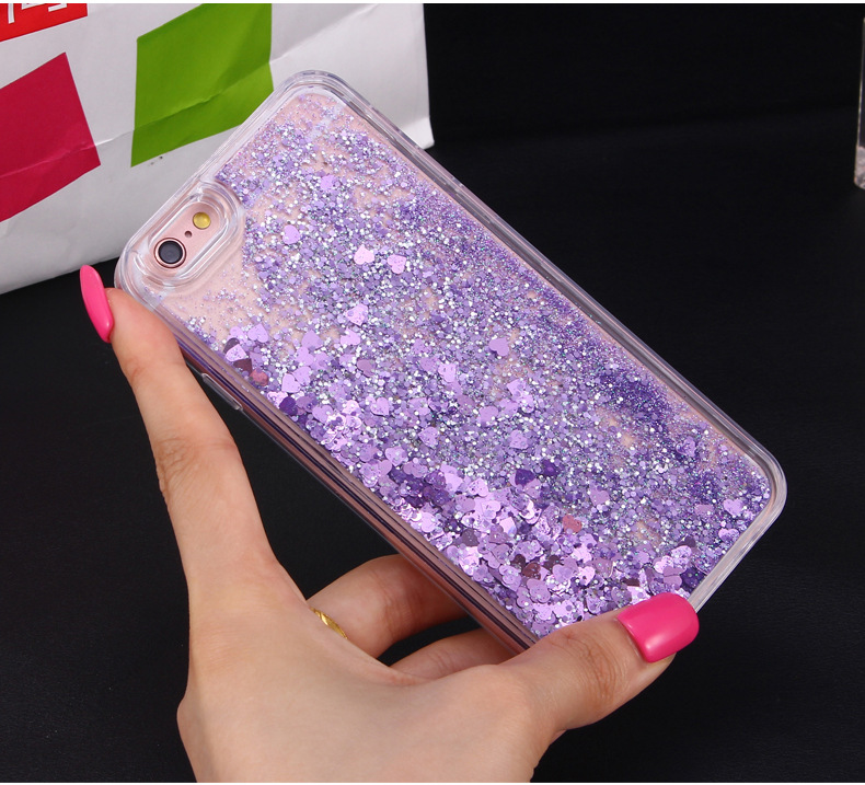 Love Heart Glitter Dynamic Liquid Quicksand <strong>Cases</strong> for iPhone X <strong>Case</strong>