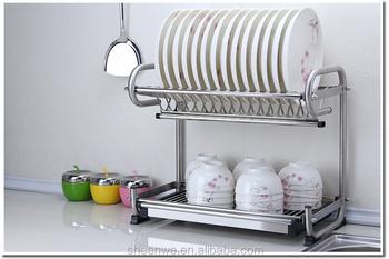 Bon Stainless Steel Kitchen Dish Rack/2 Tier Dish Drying Rack