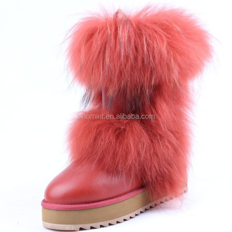 new style fox and rabbit fur cute cheap fur boots