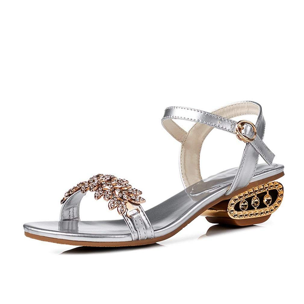 48acaf44a5a33 Get Quotations · Womens Wedge Low Heels Sandals Charm Rhinestone Summer Open  Toe Ankle Strap Roman Shoes