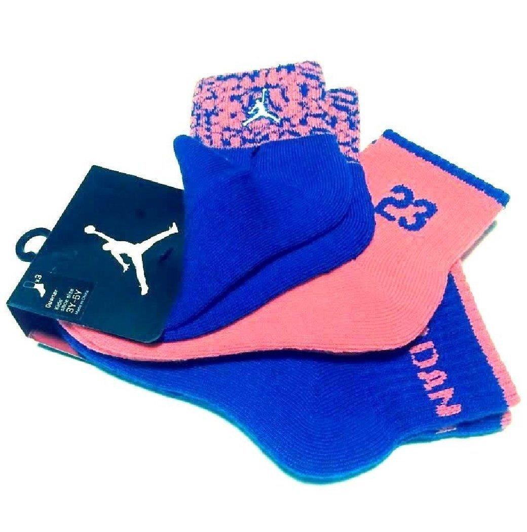 Nike Air Jordan Boys Elephant Print 3 Pr/P Quarter Socks 10C-3Y, 6-7 US Shoe Blue