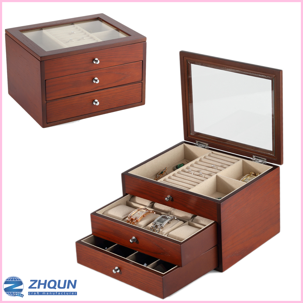 Custom luxury watch jewelry rings ornament collection storage box of wood