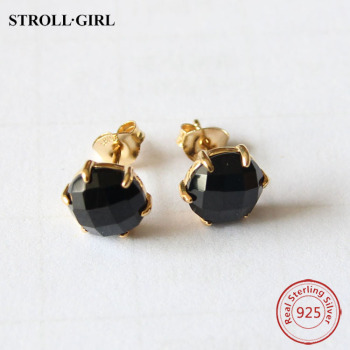 Whole Gold Plated Round Gemstone Black Onyx Stud Earrings Stone Earring
