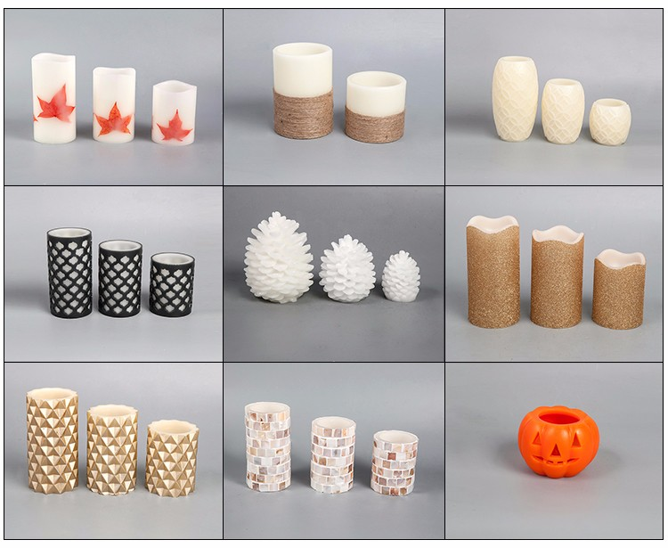 Factory wholesale cheap Set of 3 mottled pillar candle