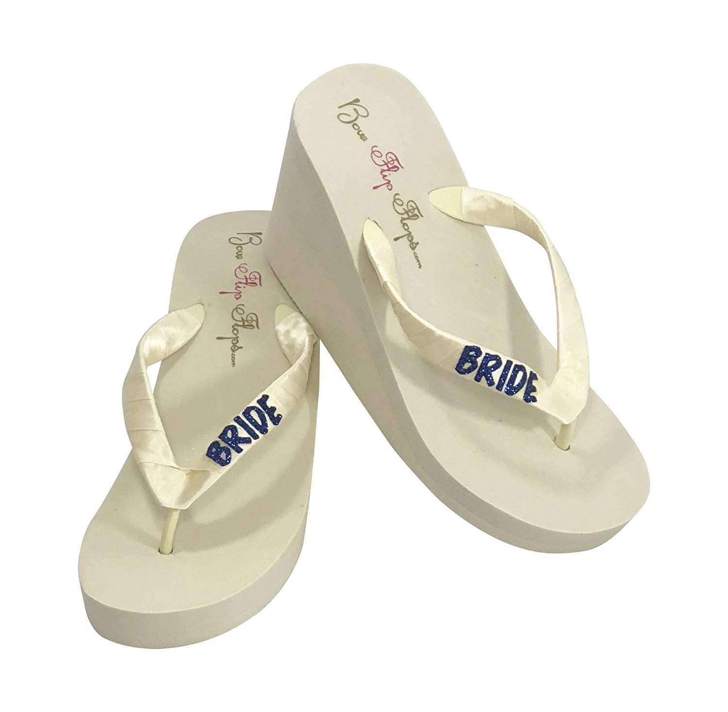 5a13bd1295f Navy Glitter Cute Wedding Wedge Flip Flops with Bride on the straps