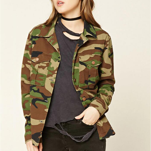 Top women's custom 100%cotton classic military camouflage apparel army winter jacket