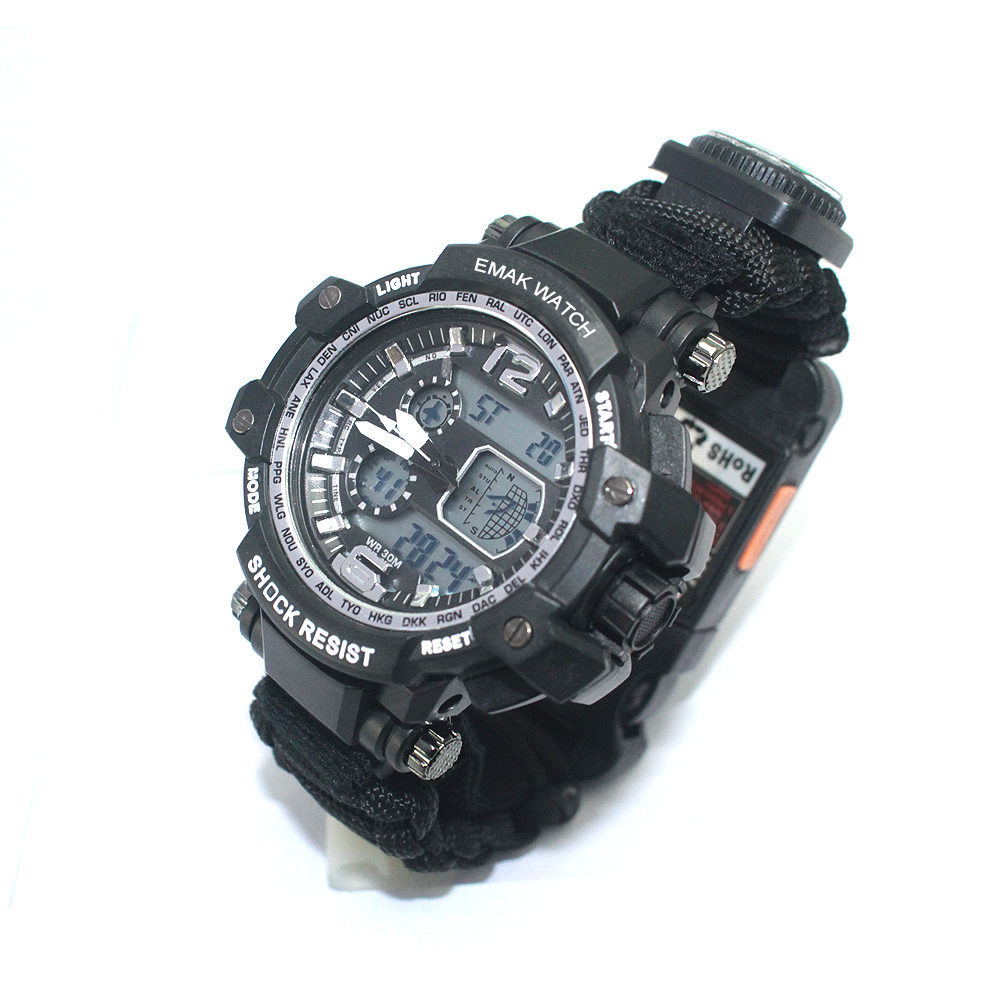 Multifunction High quality Survival paracord watch with trekking hunting tactical military, Army green