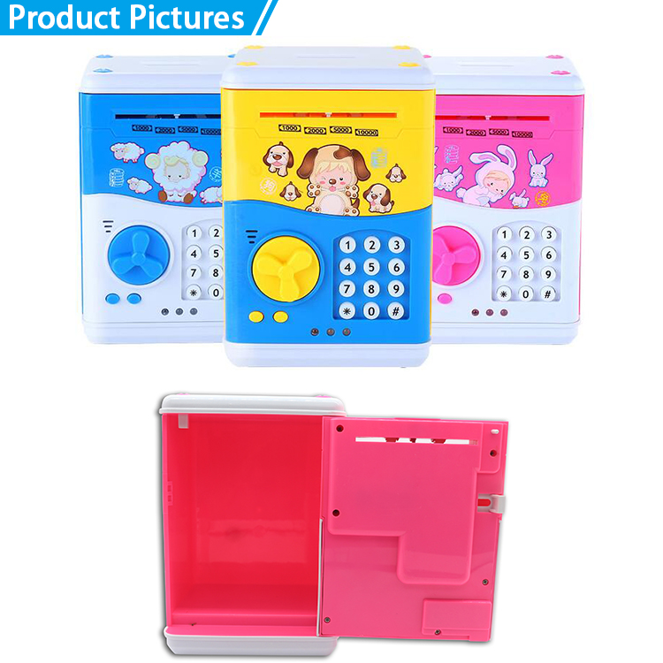 Cartoon electronic plastic money box atm bank with coded lock
