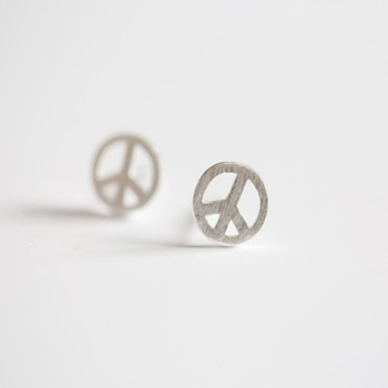 peace gold everyday little small tokens earrings jewelry sign stud