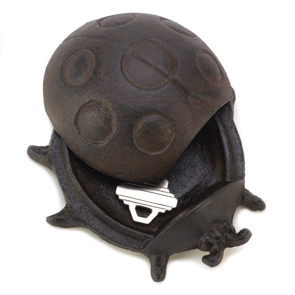 Summerfield Terrace Outdoor Key Hider, Small Cast Iron Metal Ladybug Key Hider Statue for Garden
