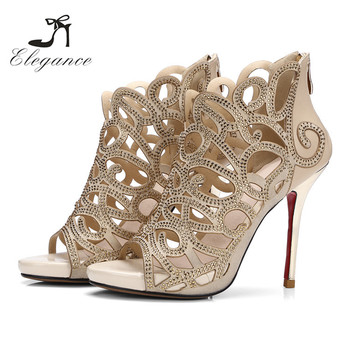 Summer Roman Shiny Hollow Out Crystal Zipper Wedding Party Dress Shoes Bride Sandals