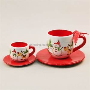 Sedex 4 pillar Factory White Ceramic Cup with red decor