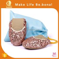Wholesale 100% Genuine Leather Foldable Flat Shoes Women Stylish Shoes