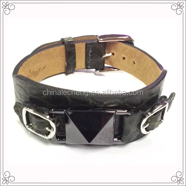 Lower Quantities Request Genuine Black Leather Bracelet With Steel Buckle