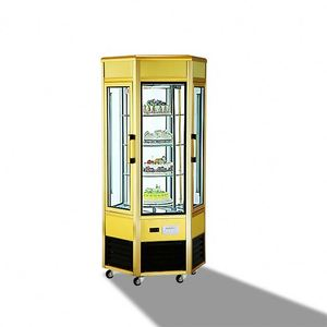 gold aluminium alloy rotating display showcase for cake machinery