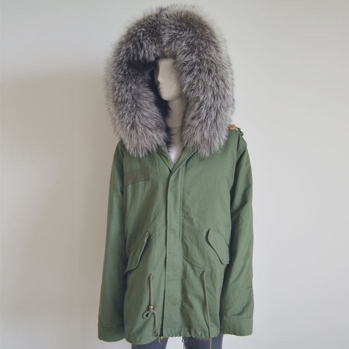 Myfur Latest Luxury Ladies Parka with Real Silver Fox Fur Lining and Hood