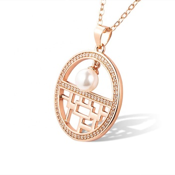 Marlary Fashion New Design Rose Gold CZ Inlay Pearl Charm Pendant Necklace For Women