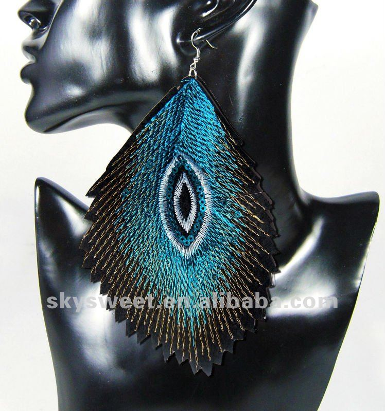 leather arcylic cut earring,peacock feather huge drop earring jewelry(swtser12101305