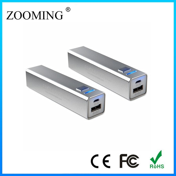 High Quality Metal 2600 Smart Mobile Power Bank with CE, FCC, RoHS
