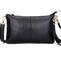 Wholesale small black soft genuine leather crossbody ladies clutch bag women