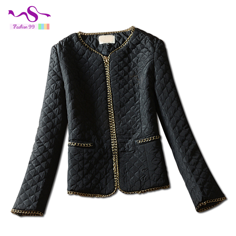 2015 Autumn and winter women chain flanger pressure plaid plus size Korean style fashion cotton jacket 5xl YT150