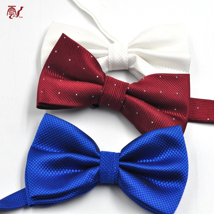 High Quality Custom Polyester Bow Tie With Square Pocket