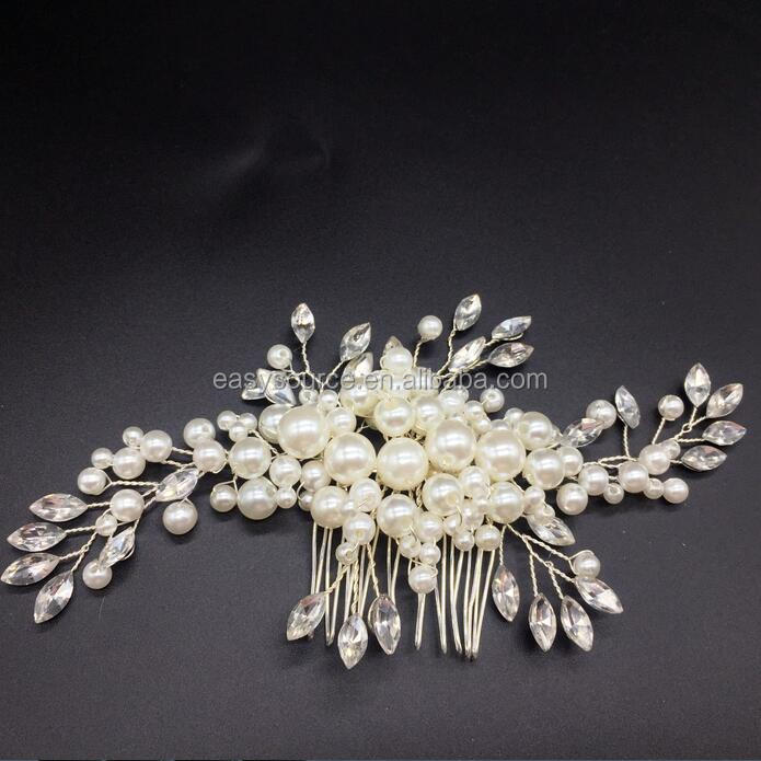 new arrival fashion metal rhinestone wedding hair accessory handmade peral bridal hair comb