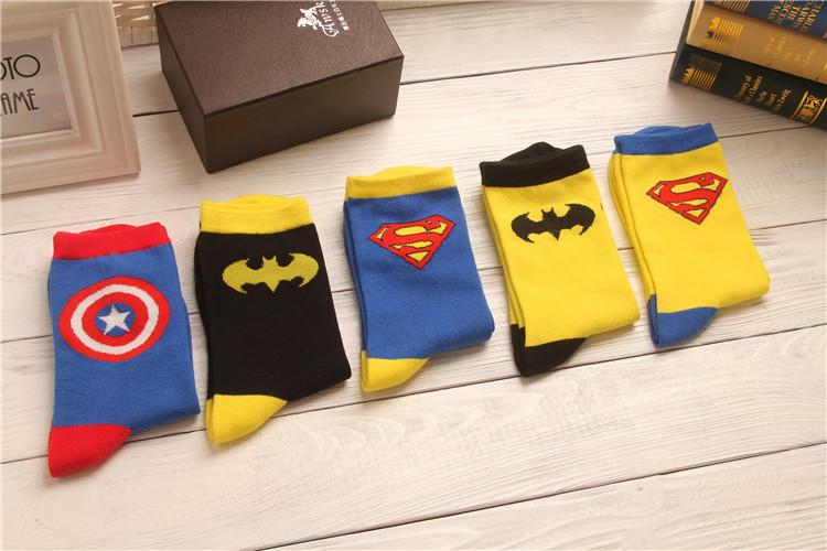 e02938b26948 Batman Captain America Superman cartoon character pattern cotton socks for  men tide pattern of Superheroes socks 134w