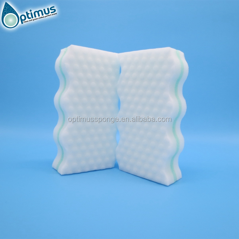 Wave shaped three layers melamine foam sponge with large cleaning effect