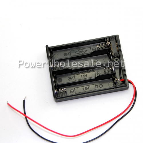 Wholesale supply 1.5v 4 pack aaa battery cell holder box case with wire leads