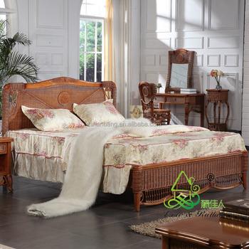 Spa Resort Leisure Elegant Natural Wood Bamboo Style Bedroom Set Furniture
