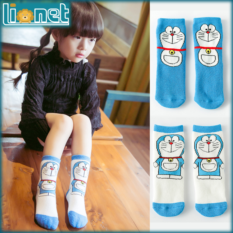 baby socks cartoon doraemon Cute girls boys kids socks 2 styles winter thick cotton terry towel