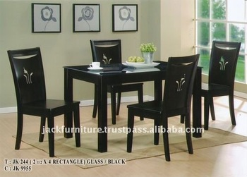 Modern Dining Sets Gl Top Rectangle Table Wooden With Set Leg
